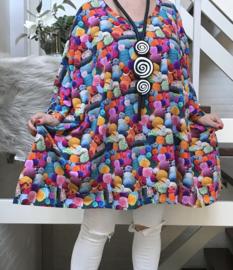 Maya oversized A-lijn jersey tuniek/jurk met zakken apart (extra groot)stretch
