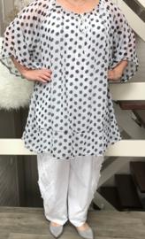 Elaine oversized tuniek (extra groot) wit/zwart