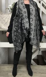 Italia super zacht winter viscose/katoen dubbelzijdig sjaal grijs