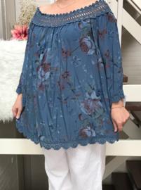 ITALIA  oversized katoen bloemen blouse/tuniek  met kant blauw (extra groot)