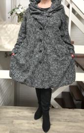 New Jersey  A-lijn jas/mantel met capuchon stretch /gevoerd grijs