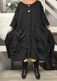 Emily  oversized A-lijn blazer/jas  (extra groot)  apart zwart