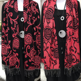 Italia super zacht winter viscose/wol dubbelzijdig sjaal zwart/rood