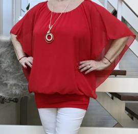 ITALIA MODA oversized viscose blouse met band aan de onderkant en met ketting