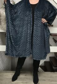 Ninka oversized zachte fake fur poncho/ vest (extra groot)  apart/ donkerpetrol