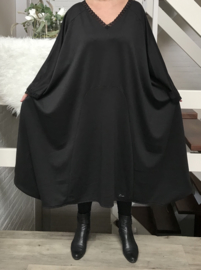 Amelia oversized A-lijn jersey jurk met kant apart (extra groot) zwart