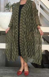 Meggie oversized A-lijn kanten blazer/jas  (extra groot)  apart legergroen