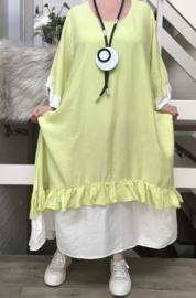 SINNE design.. A- lijn viscose jurk met imitatie onderjurk