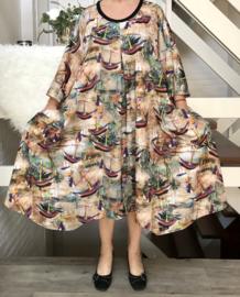 Gena oversized A-lijn jersey jurk/tuniek apart (extra groot)