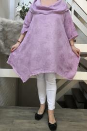 Moonshine de modieuze kleuring linnen asymmetrisch A-lijn tuniek met col