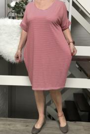 ITALIA oversized  tricot strepen jurk/tuniek/in meerdere kleuren