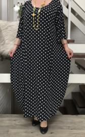 La Bass viscose  A-lijn jurk STRETCH zwart/wit
