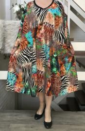 Amalia oversized katoen jersey A-lijn jurk/tuniek met zakken apart stretch  (extra groot)stretch