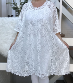 Agnes oversized A-lijn KANTEN jurk/tuniek apart (extra groot) stretch