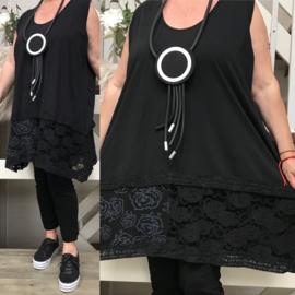 Moonshine jersey A-lijn tuniek met KANT zwart