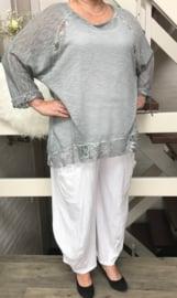 YAKOOT  oversized jersey top met kant ( extra groot)