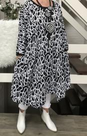Megan oversized A-lijn jersey jurk met zakken apart (extra groot)