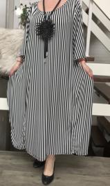 La Bass viscose  A-lijn jurk STRETCH wit/zwart