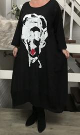 Vincenzo Allocca jersey katoen jurk met inzet van linnen