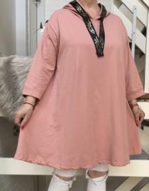 LINA jersey katoen tuniek met capuchon stretch /in meerdere kleuren