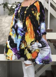 Claudia oversized A-lijn jersey tuniek/jurk met zakken apart (extra groot)