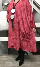 Allison oversized A-lijn viscose jurk apart (extra groot)stretch
