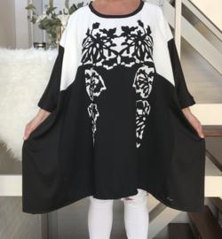 Camille oversized A-lijn jersey tuniek met zakken apart (extra groot)