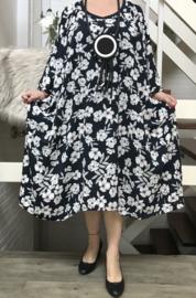 Kelly oversized luchtige viscose  A-lijn jurk met zakken apart crepe  (extra groot)