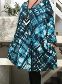 Debbie oversized jersey A-lijn tuniek/ jurk met zakken apart stretch  (extra groot)