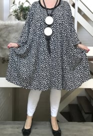 Jeanne oversized jersey A-lijn jurk/tuniek met zakken apart stretch(extra groot)zwart
