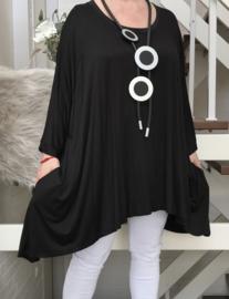 Doris oversized A-lijn jersey tuniek/jurk met zakken apart (extra groot)stretch zwart