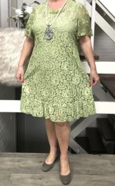 ITALIA katoen A-lijn KANTEN jurk gevoerd   /in meerdere kleuren