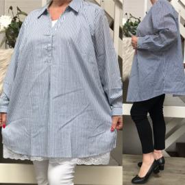 ITALIA viscose strepen blouse/hemd (extra groot)/in meerdere kleuren