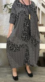 Vincenzo Allocca viscose jersey A-lijn jurk met zakken apart zwart/wit