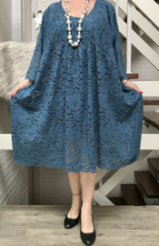 Nadia  oversized A-lijn viscose KANTEN jurk apart (extra groot)Lace stretch