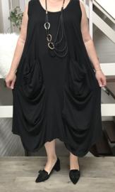 Moonshine oversized jersey katoen A-lijn jurk (extra groot)zwart