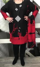 Naveed jersey  jurk met sjaal zwart