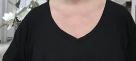 Melissa oversized A-lijn katoen jersey jurk/tuniek met zakken apart (extra groot)stretch zwart