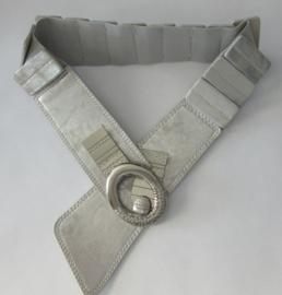 Fashion Paris leren riem met elastiek gewassen zilver