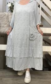 SINNE design.. A- lijn linnen /viscose jurk met capuchon