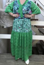 Elsa  oversized jersey A-lijn jurk met KANT en zakken apart stretch  (extra groot)