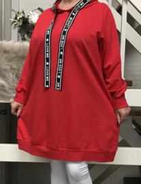 ITALIA katoen joggingstof  A-lijn tuniek/jurk met capuchon/in meerdere kleuren