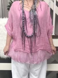 ITALIA  linnen oversized blouse gevoerd met inzet van zijden(extra groot)/in meerdere kleuren