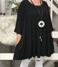 Amalia oversized A-lijn jersey tuniek/jurk met zakken apart (extra groot)zwart