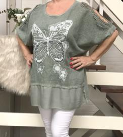 ITALIA oversized katoen/linnen blouse/top/in meerdere kleuren