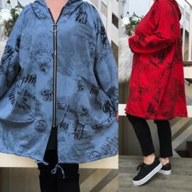 ITALIA  oversized joggingstof katoen jersey blazer met capuchon stretch /in meerdere kleuren
