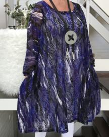 Becky oversized KANTEN A-lijn jersey tuniek met zakken apart (extra groot)STRETCH