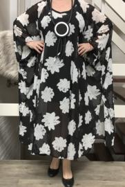 Adriana oversized chiffon jurk/poncho/wrap apart   (extra groot) zwart/wit