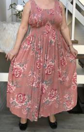 ITALIA viscose jurk /bovenzijde is gerimpeld met elastiek
