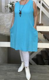 ITALIA katoen A-lijn jurk met ketting en inzet van tricot  /in meerdere kleuren